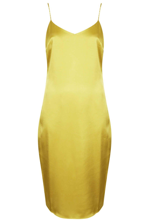 8747aaaf91c8 Topshop Satin Midi Slip Dress in Green (CHARTREUSE) | Lyst | Dream ...