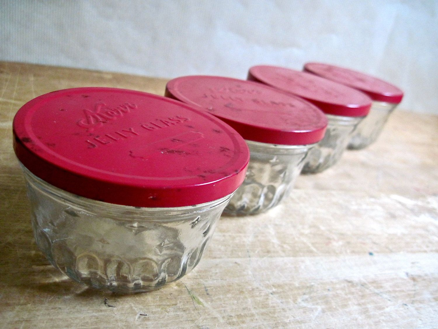 Vintage Kerr Jelly Glasses Jars, Red Lids, Set Of Four By RushCreekVintage  On Etsy