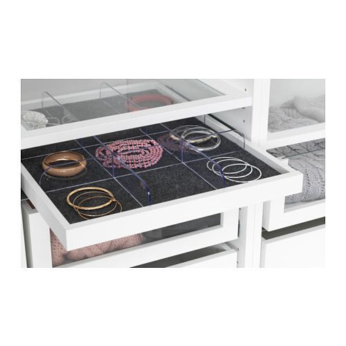KOMPLEMENT Pull-out tray with divider, white, clear in 2019