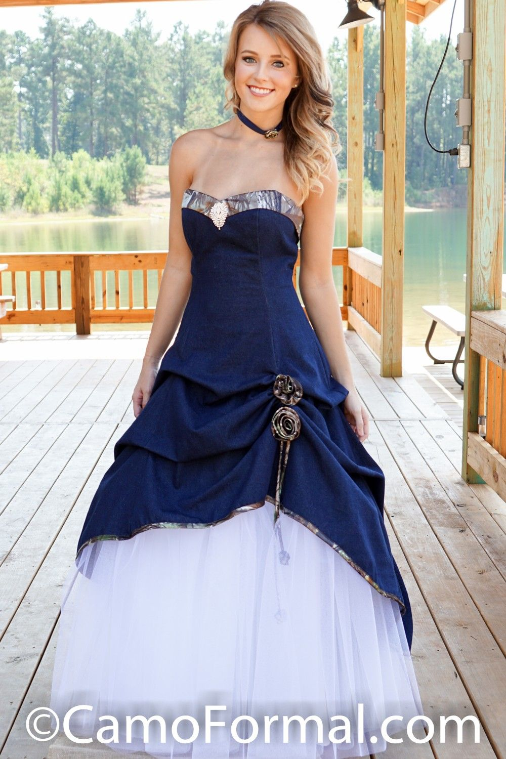 Sweetheart A Line Pickup Dress With Net Skirt Highlighted With A Waterfall Rhinestone Pin The Matchi Camo Wedding Dresses Denim Wedding Denim Wedding Dresses