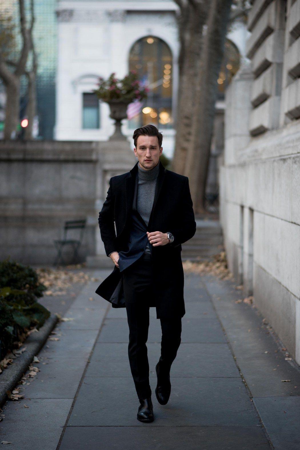 808c1e9ee521 Denim tuxedo blazer + gray turtleneck + black pants | Men's Style ...