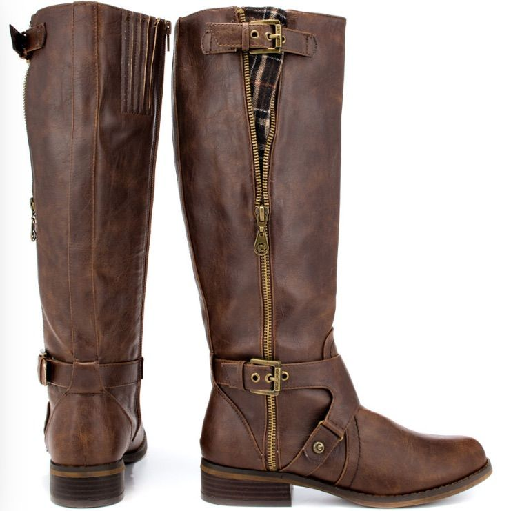 G by Guess Hertlez Medium Brown Leather Fashion Knee-High Boots SIZE 6