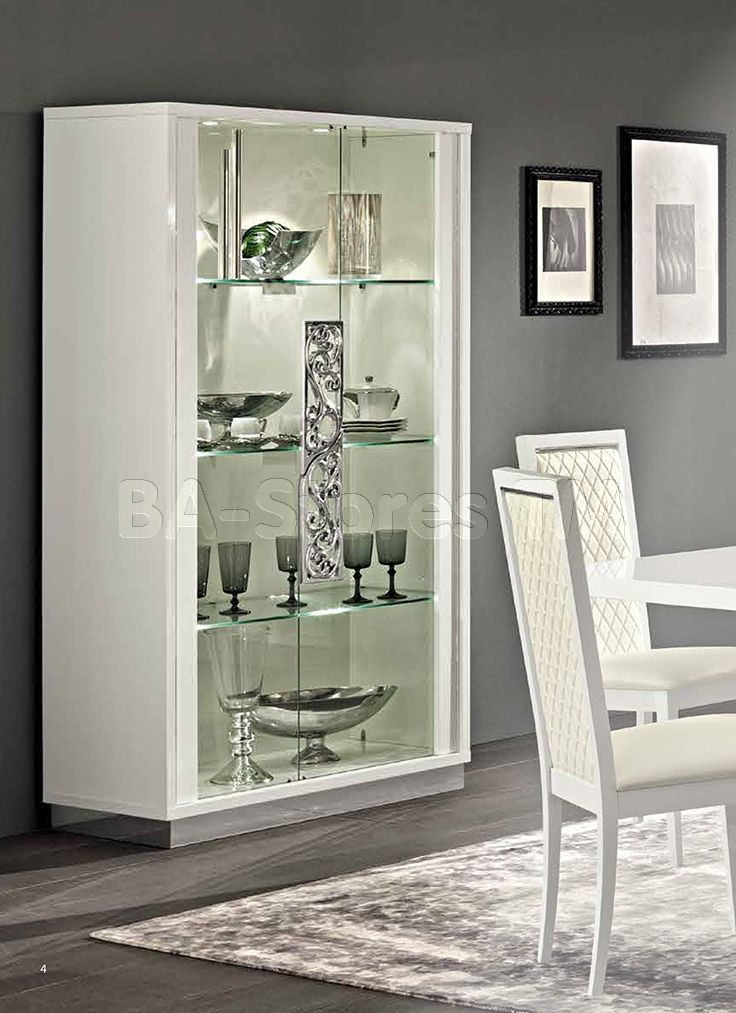 Roma 2 Door Curio In White By Esf Buffets And Cabinets By