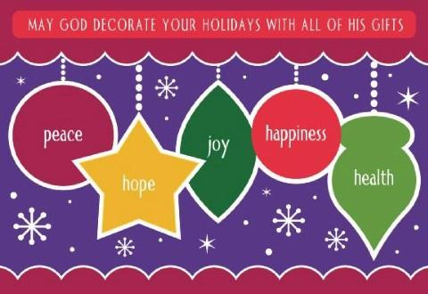 May God Decorate Your Holidays With All Of His Gifts! - Christmas Bulletin Board #decemberbulletinboards