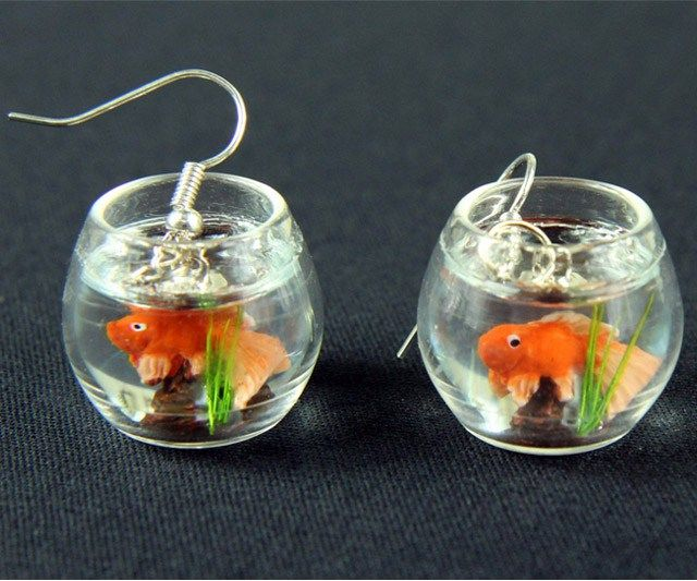 Goldfish Bowl Earrings  Add an attention-grabbing uniqueness into your looks by accessorizing yourself with this goldfish bowl earrings.