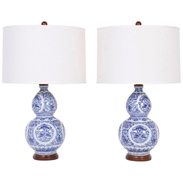 Pair Of Blue And White Double Gourd Table Lamps Lamp Table Lamp Modern Table Lamp