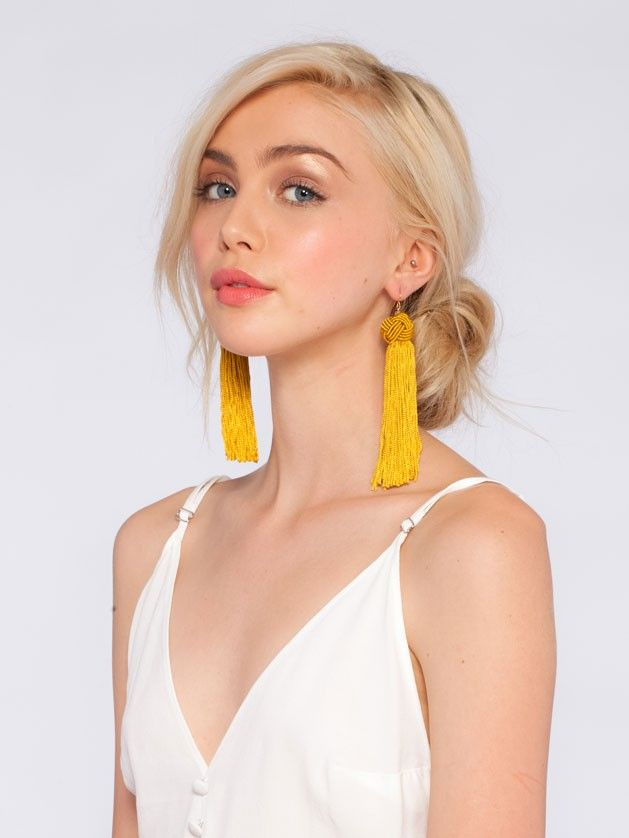 The Astrid Gold Knotted Tassel Earrings - Jewelry | Vanessa Mooney Jewelry