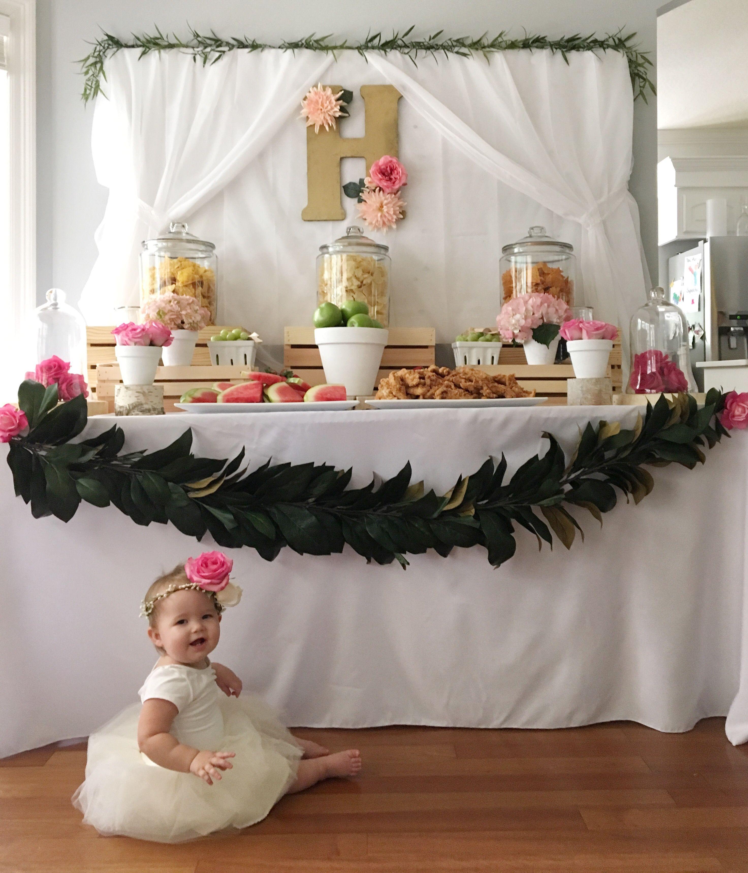 first birthday invitation for my son%0A Harper u    s Floral First Birthday