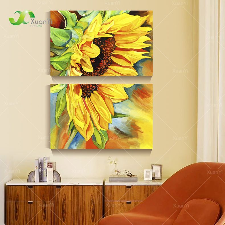 2 Panel Modern Printed Sunflower Oil Painting Picture Cuadros