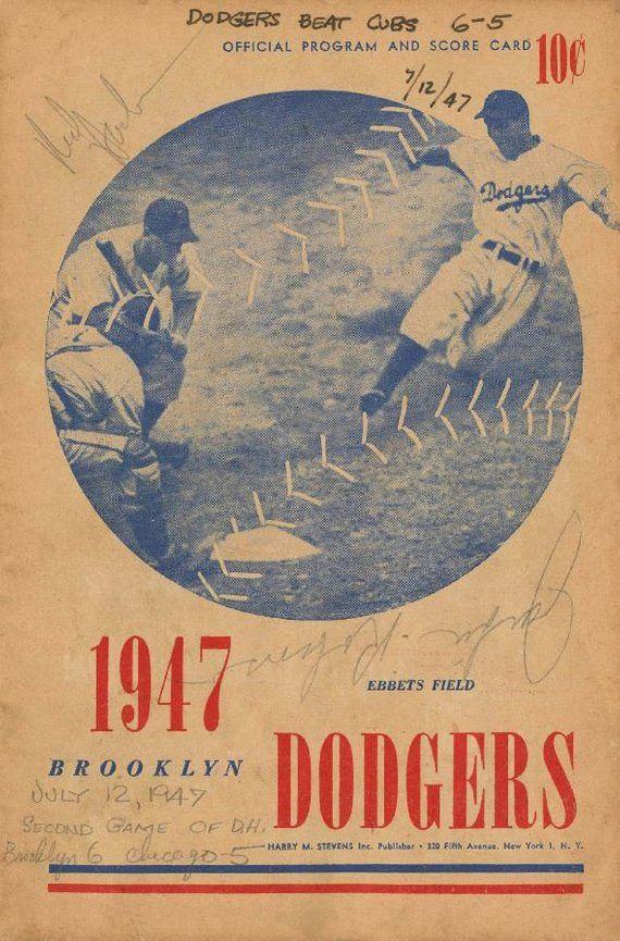 0bad6cb2 BROOKLYN DODGERS 1947 print - Vintage Baseball Poster. Retro Baseball  Poster, Classic Baseball Art,