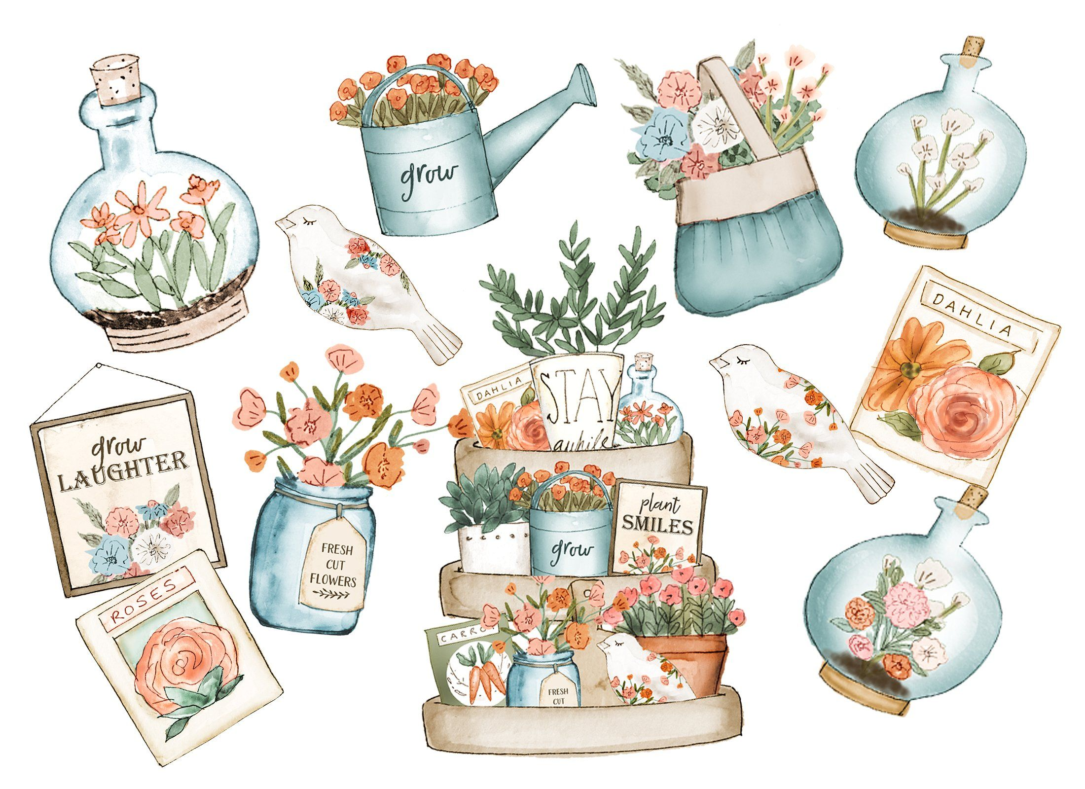 Gardening Clipart Set Png Files Includes Extra Clip Art Clip