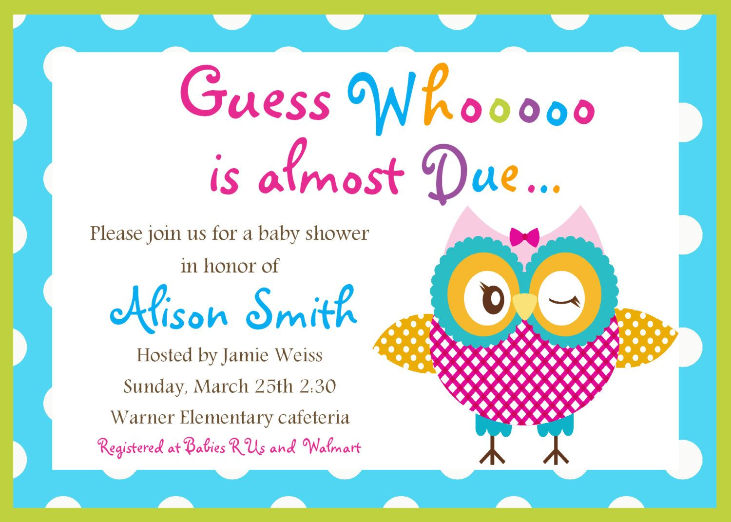 Printable Owl Baby Shower Invitation. $8.00, via Etsy. | Baby Shower ...