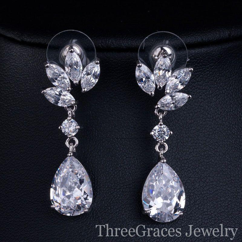 White gold Plated CZ Diamond Flower Shape Bridesmaid Jewelry Sets