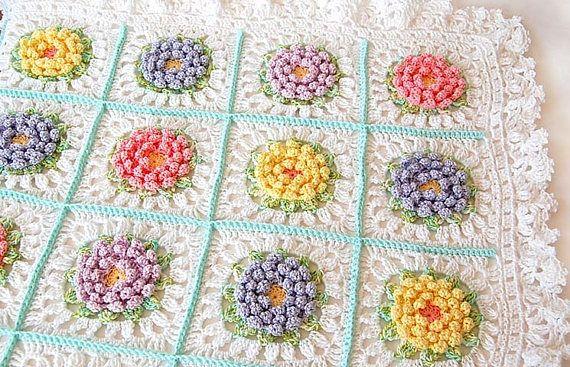 Flor patrón de manta bebé afgano de ganchillo ganchillo a ...