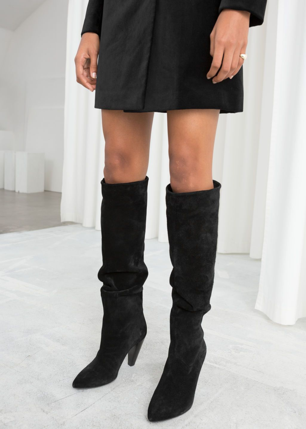 Knee High Suede Boots Black Other Stories High Knee Boots Outfit Suede Boots Knee High High Boots Outfit