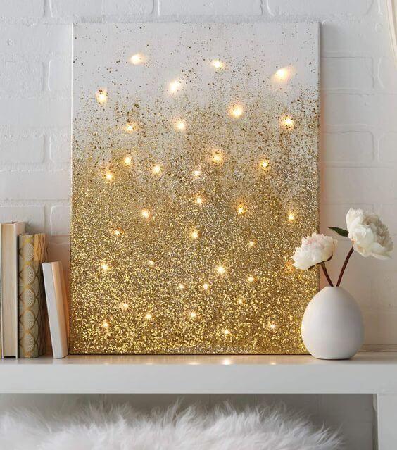 21 tolle DIY Wohndeko-Ideen mit Lichterketten Diys, Decoration - Bild Schlafzimmer Leinwand