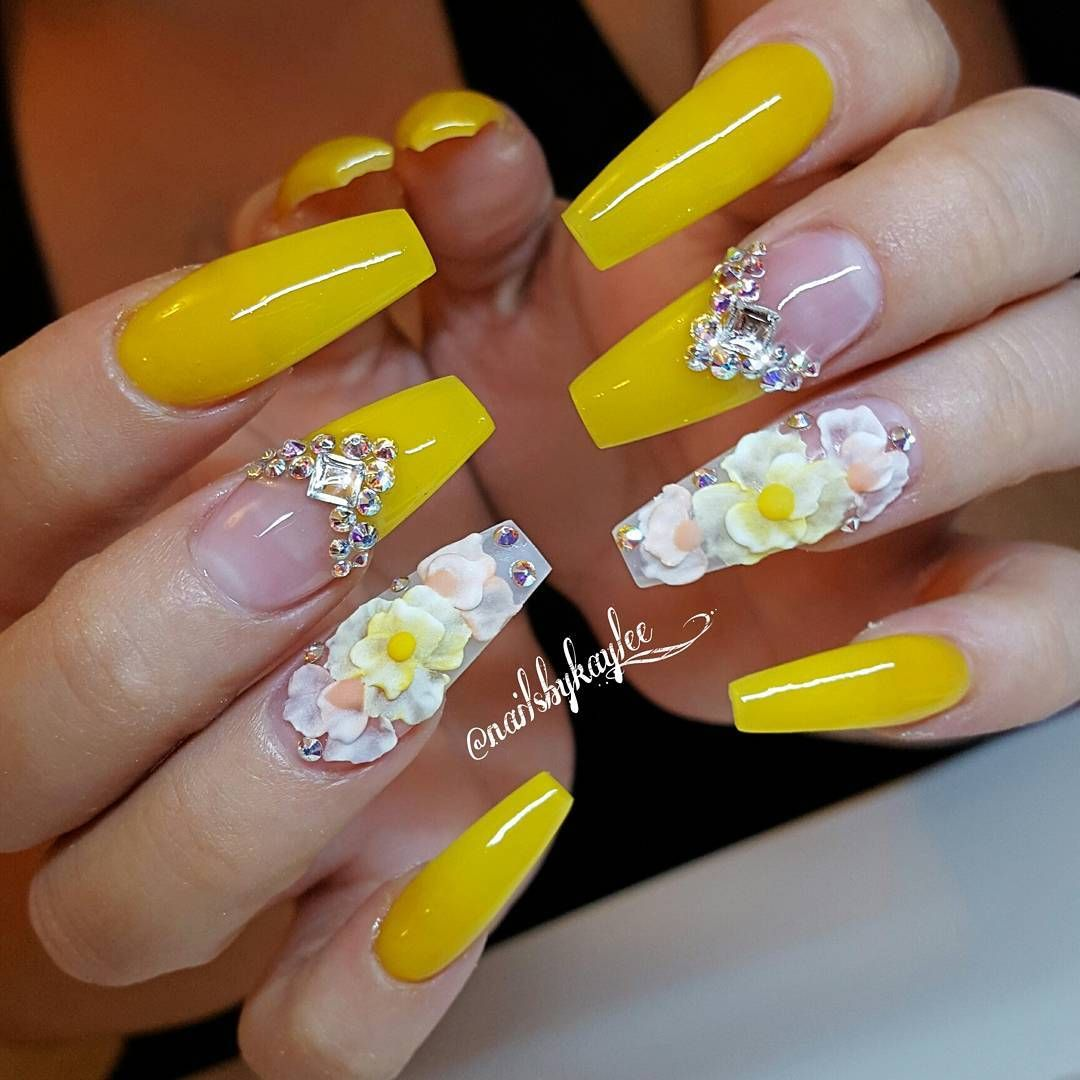 Luxury Yellow Coffin Nails