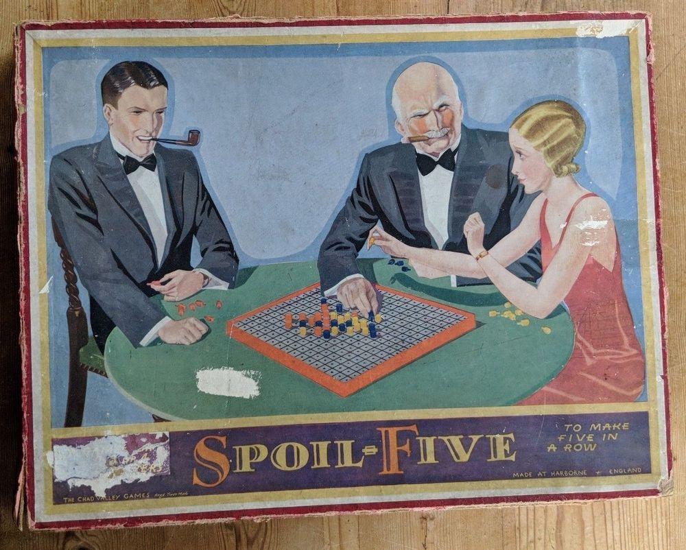 Antique vintage 1920s spoil five boardgame wooden peg
