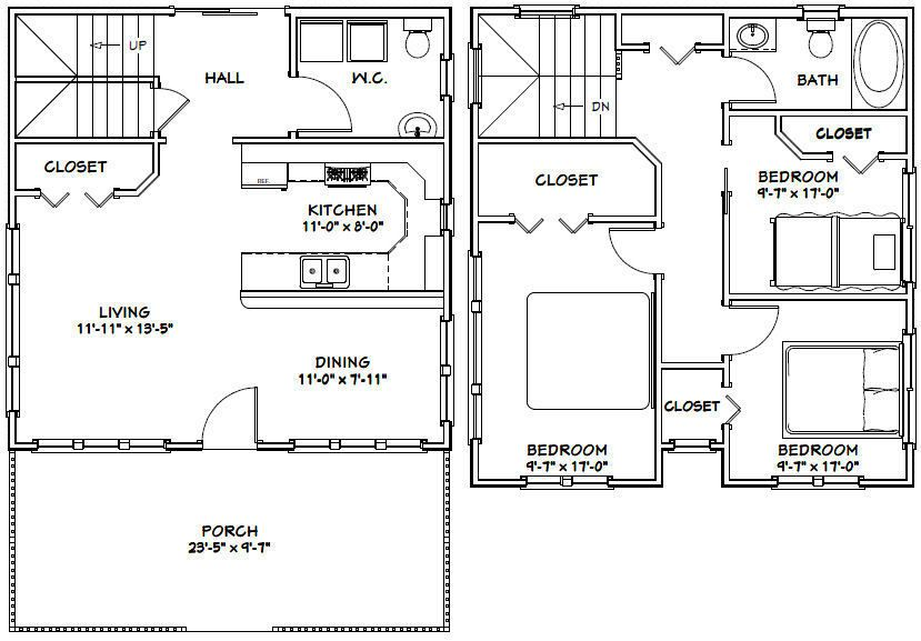 24x24 House 3 Bedroom 1 5 Bath 1 106 Sq Ft Pdf Floor Plan Model 5f 29 99 Picclick Bedroom House Plans House Plans Tiny House Plans