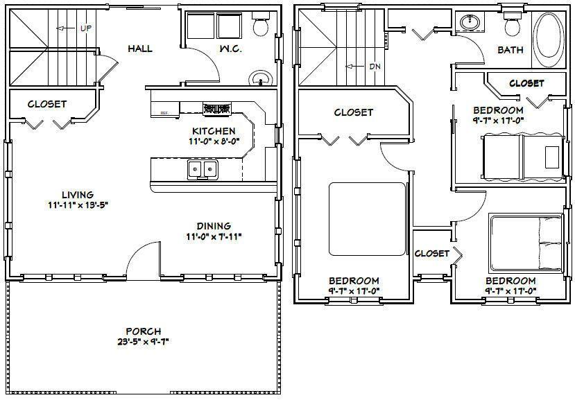 24x24 House 3 Bedroom 1 5 Bath 1 106 Sq Ft Pdf Floor Plan Model 5f 29 99 Picclick Bedroom House Plans House Plans Floor Plans