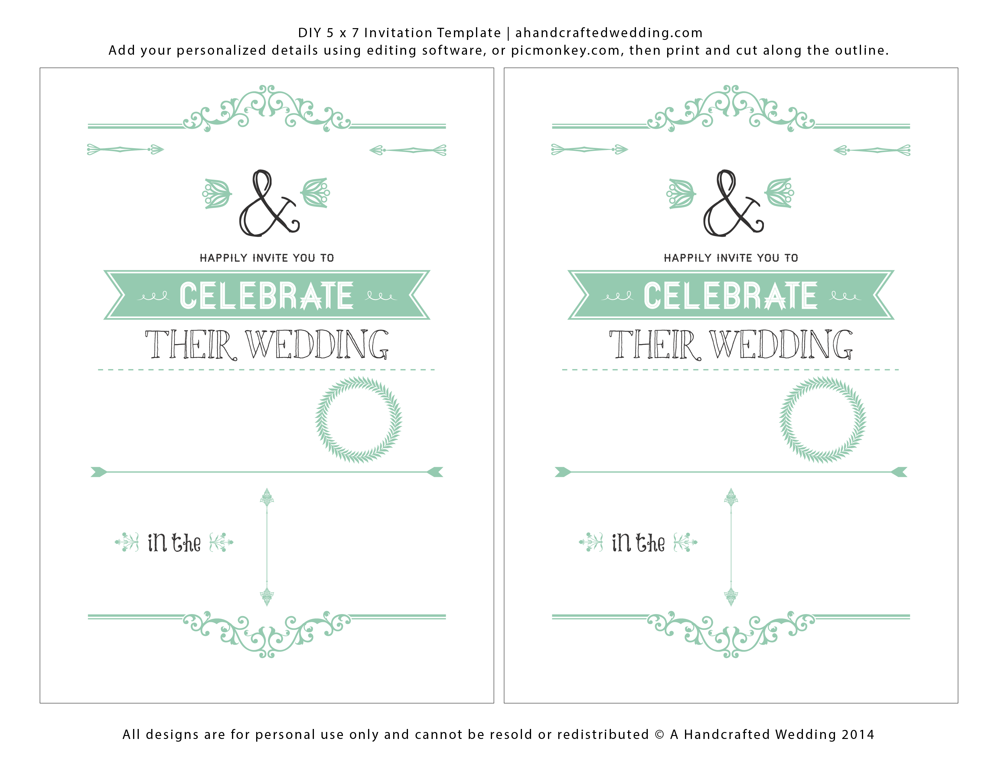 Diy Mint Invitation Template 2 Per Page Ahandcraftedwedding Png