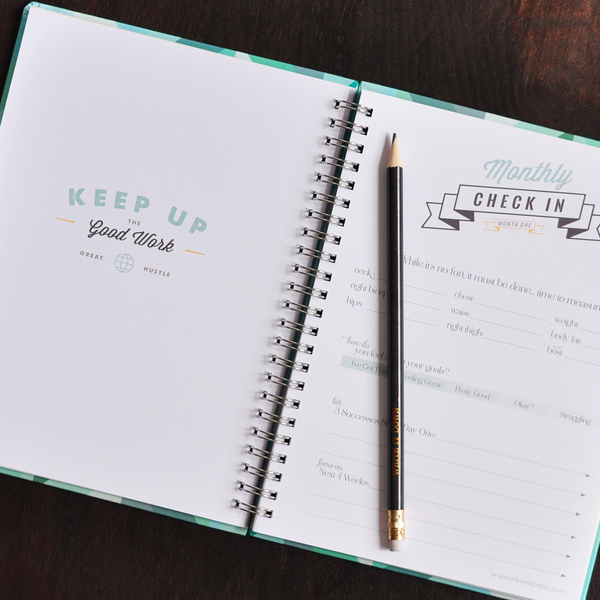 hard cover fitness planner food tracker log inkwell press
