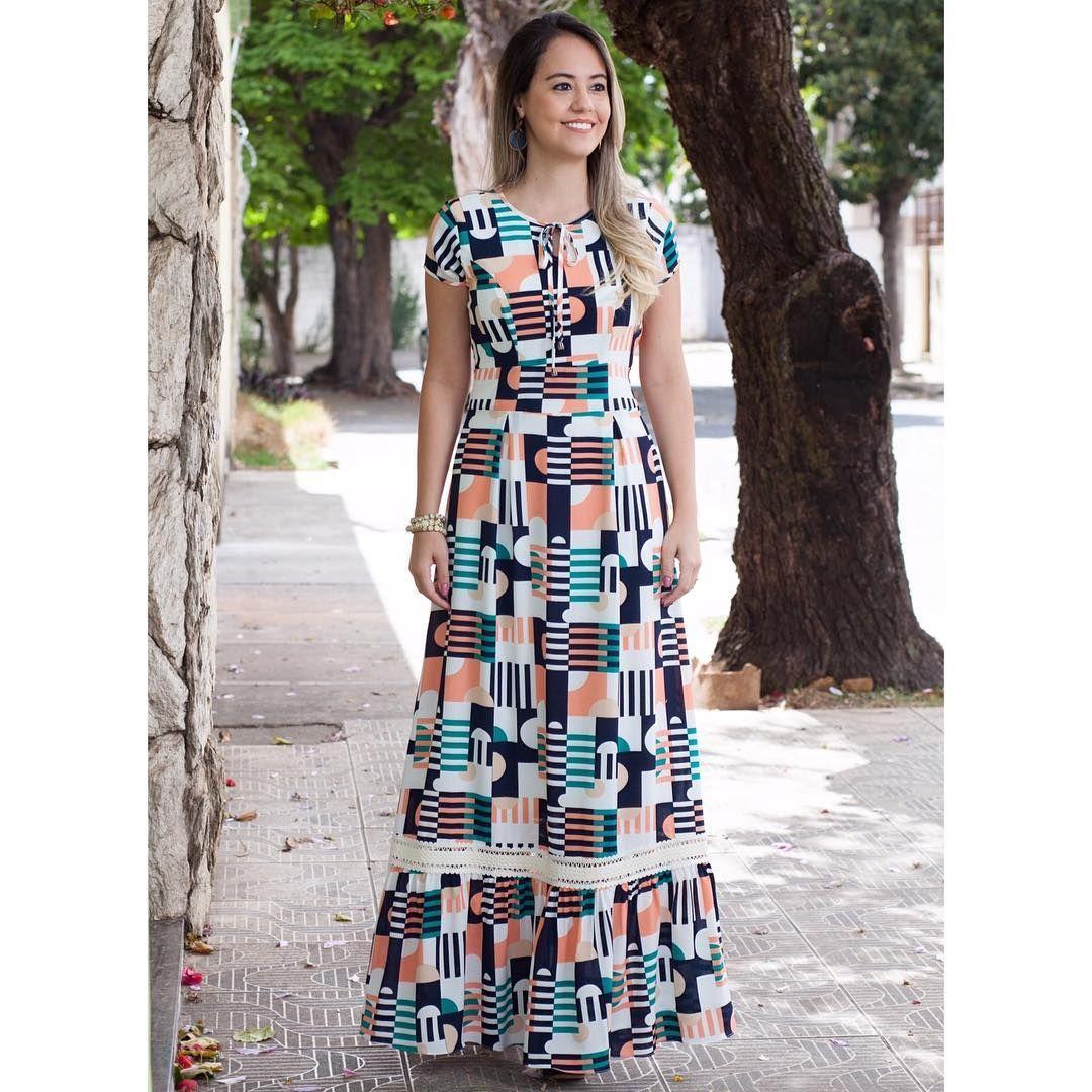 LanÇamento vestido longo geométrico colorido tecid meus