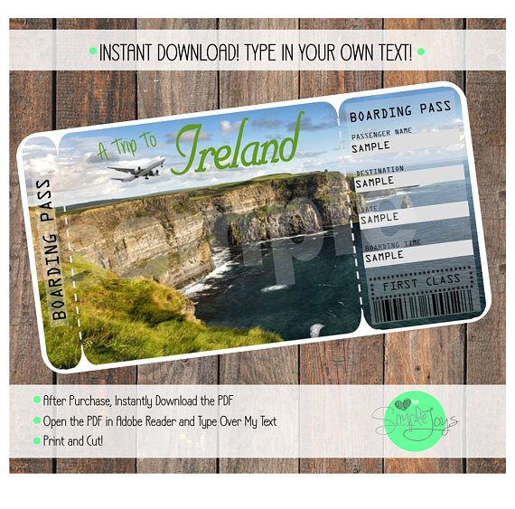 Printable Ticket to Ireland Boarding Pass Template Digital - plane ticket template