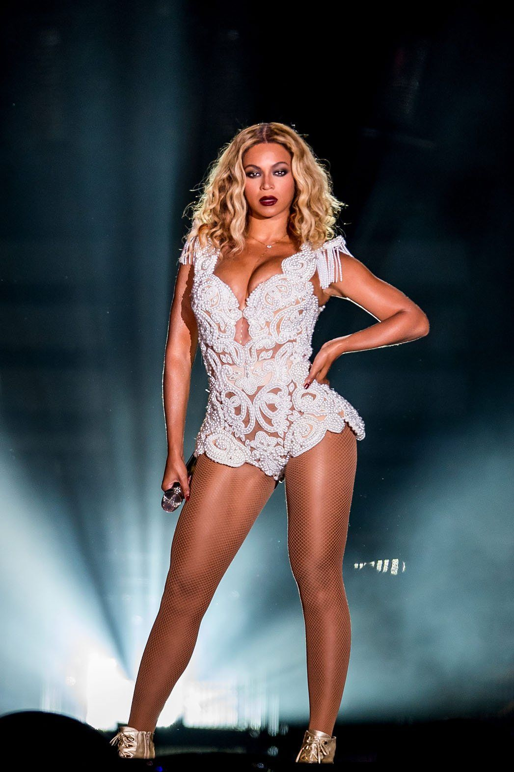 Beyonce, concert, white, lace, beaded, bodysuit