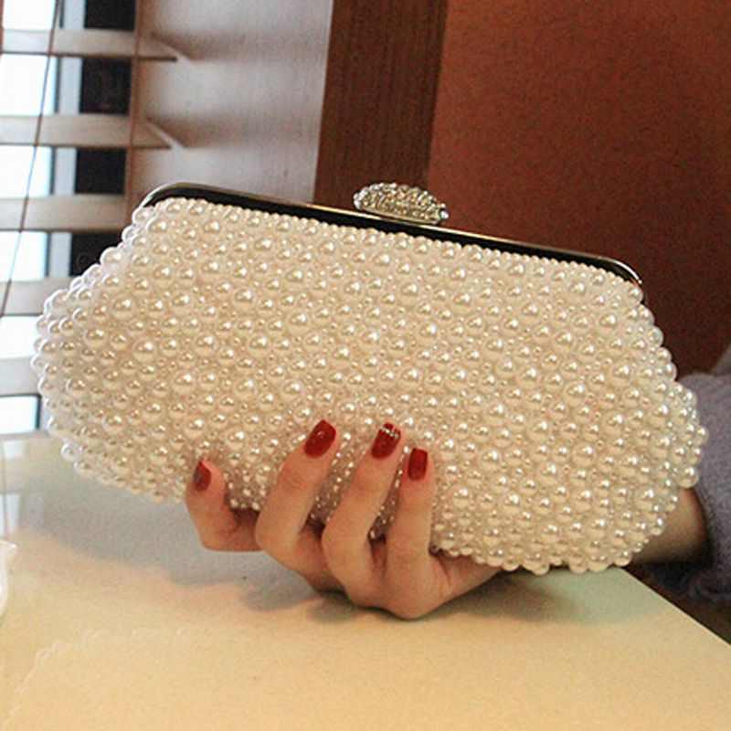 Women Messenger Beaded Women Vintage Evening Bags Imitation Pearl Shell Women Bag Shoulder Bags Diamonds Clu Beaded Clutch Bag Vintage Evening Bags Beaded Bags