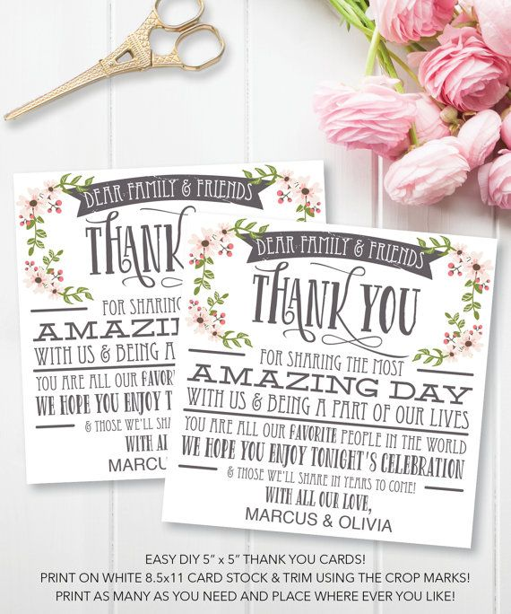 Wedding Thank You Place Cards