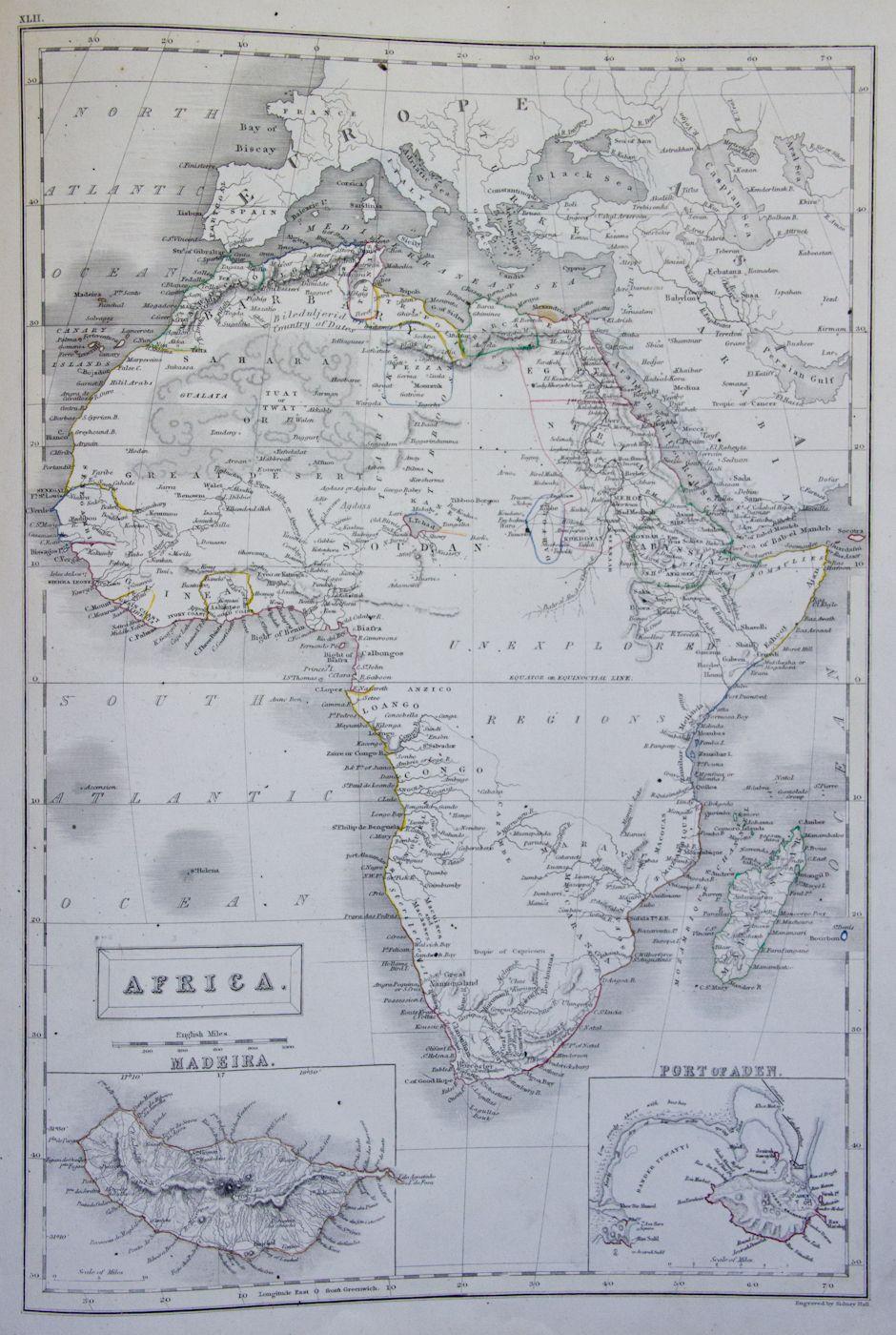 """Map of Africa c 1846 """"Unexplored Regions"""""""