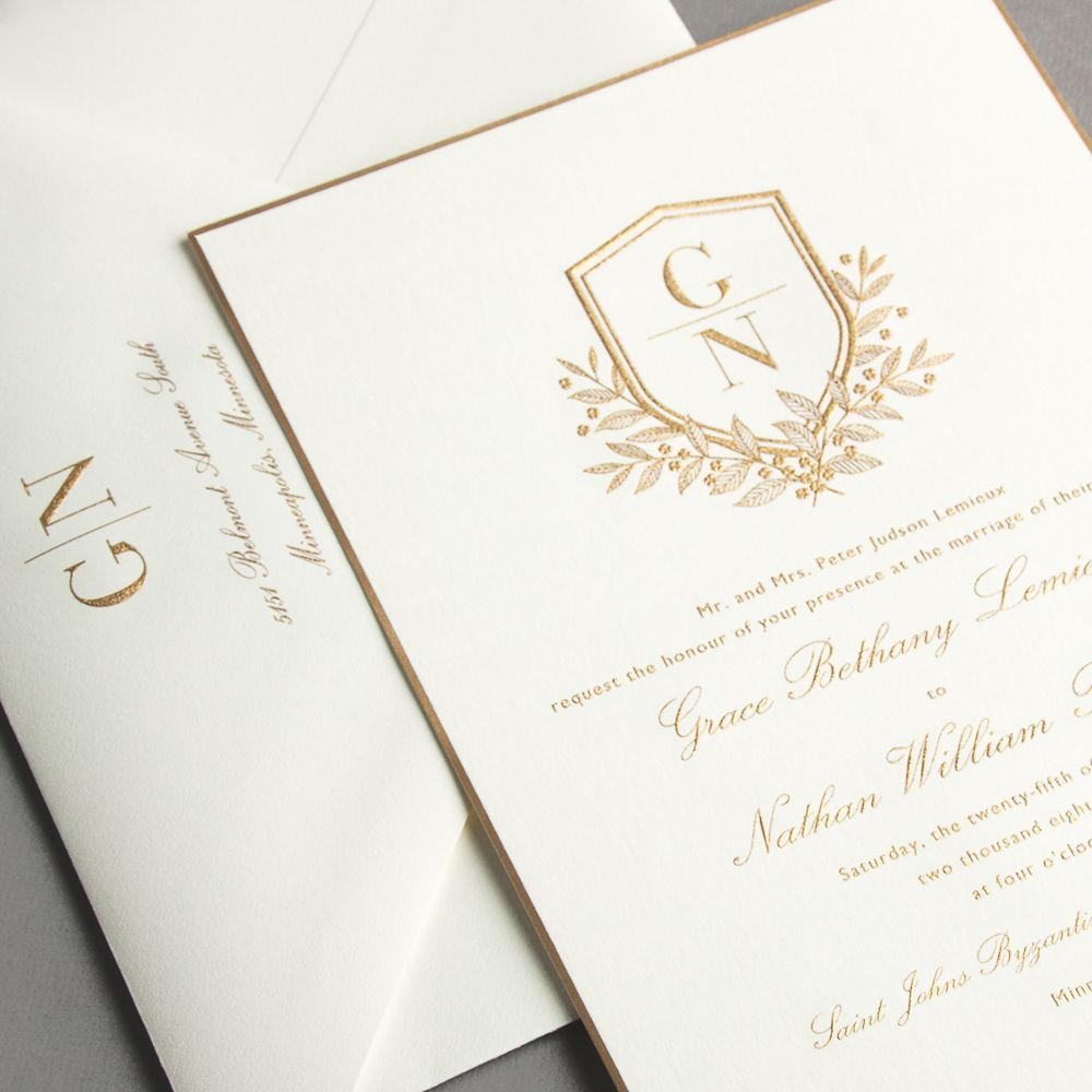 Vera Wang Engraved Gold Bordered Oyster Wedding Invitation A Gold