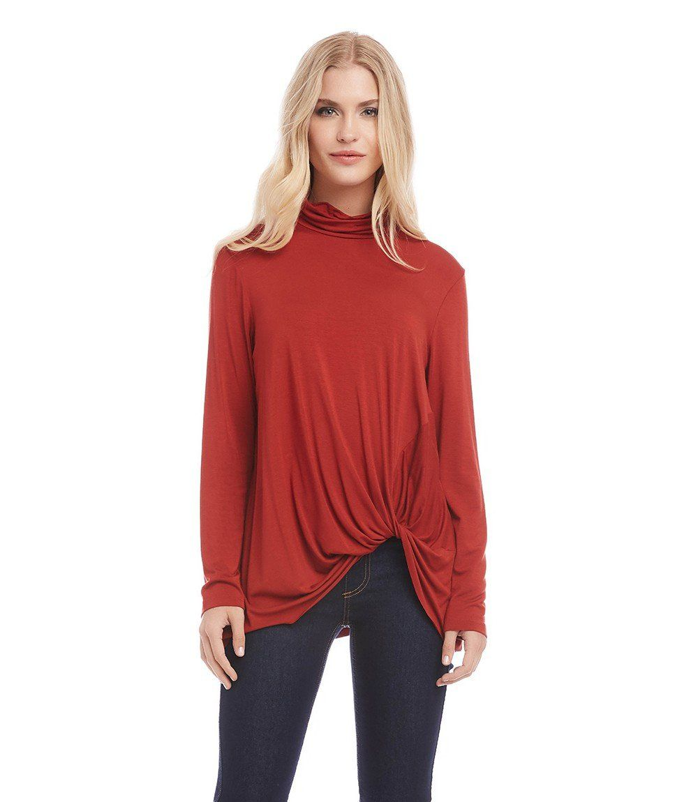 Karen Kane Pick Up Turtleneck Tee, L, Rust
