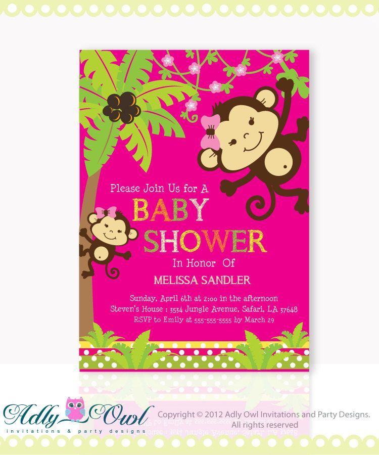 Hot Pink, Green Girl Monkeys Baby Shower Invitation Printable. Brown ...