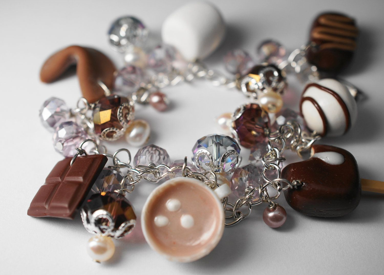 Chocolate Bracelet Miniature Food Jewelry Polymer Clay Brown Charm 60 00 Via Etsy