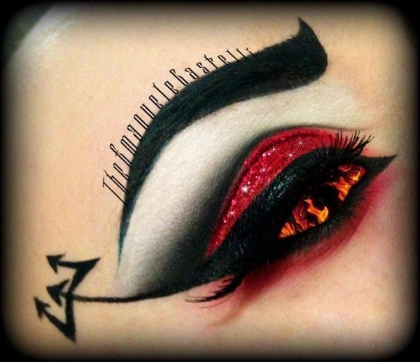 halloween makeup wicked devil eye with forked eyeliner hotonbeautycom - Devil Halloween Makeup Ideas