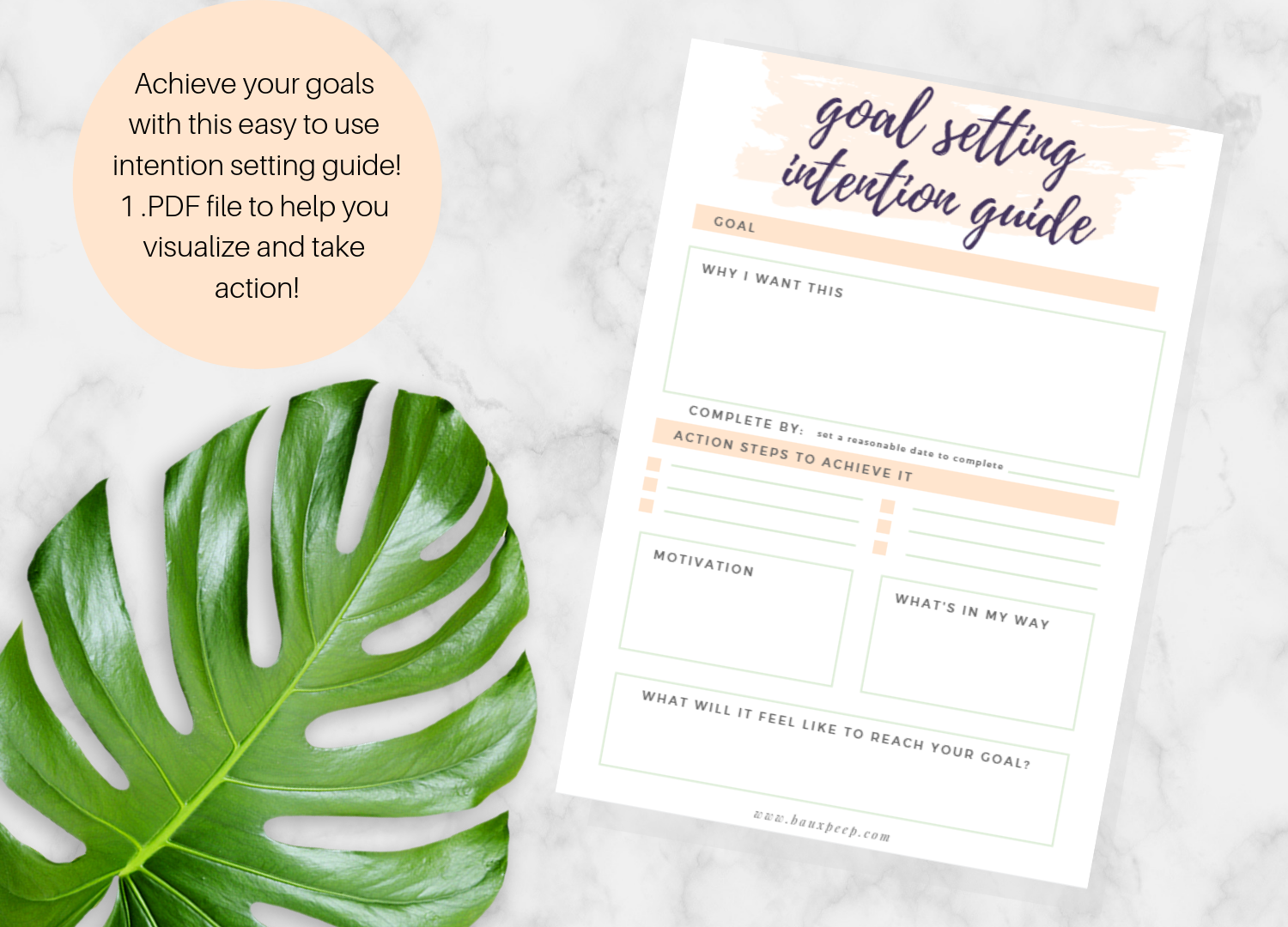Goal Setting Printable Manifesting Guide Intention