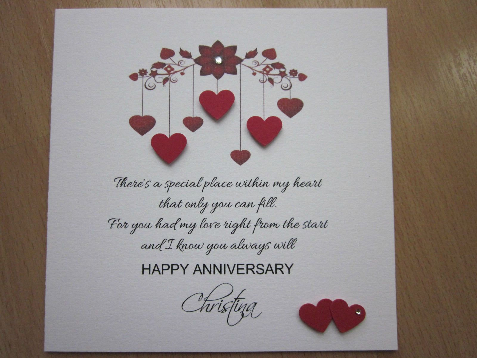 Personalised handmade anniversary engagement wedding day card