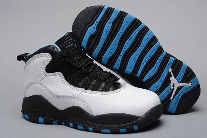 1176e9a73098 Kids Size Nike Brand Basketball Shoes Air Jordan 10 with White Dark  Blue Black Colorways