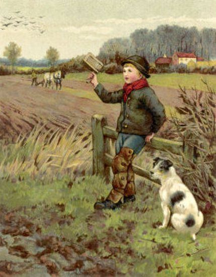 Country Boy And His Dog Scare Away Crows With A Rattle - Agnes Clausen