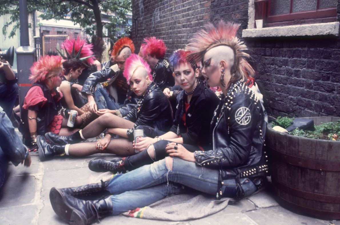 Dr martens part of history punks on a street corner photo
