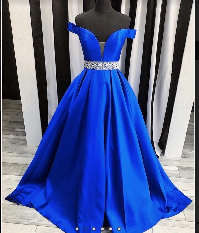 2020 Off The Shoulder Beading Sweetheart Ball Gown Royal Blue Satin Prom Dresses Prom Dresses Long Blue Evening Dresses Dresses Formal Elegant [ 988 x 842 Pixel ]