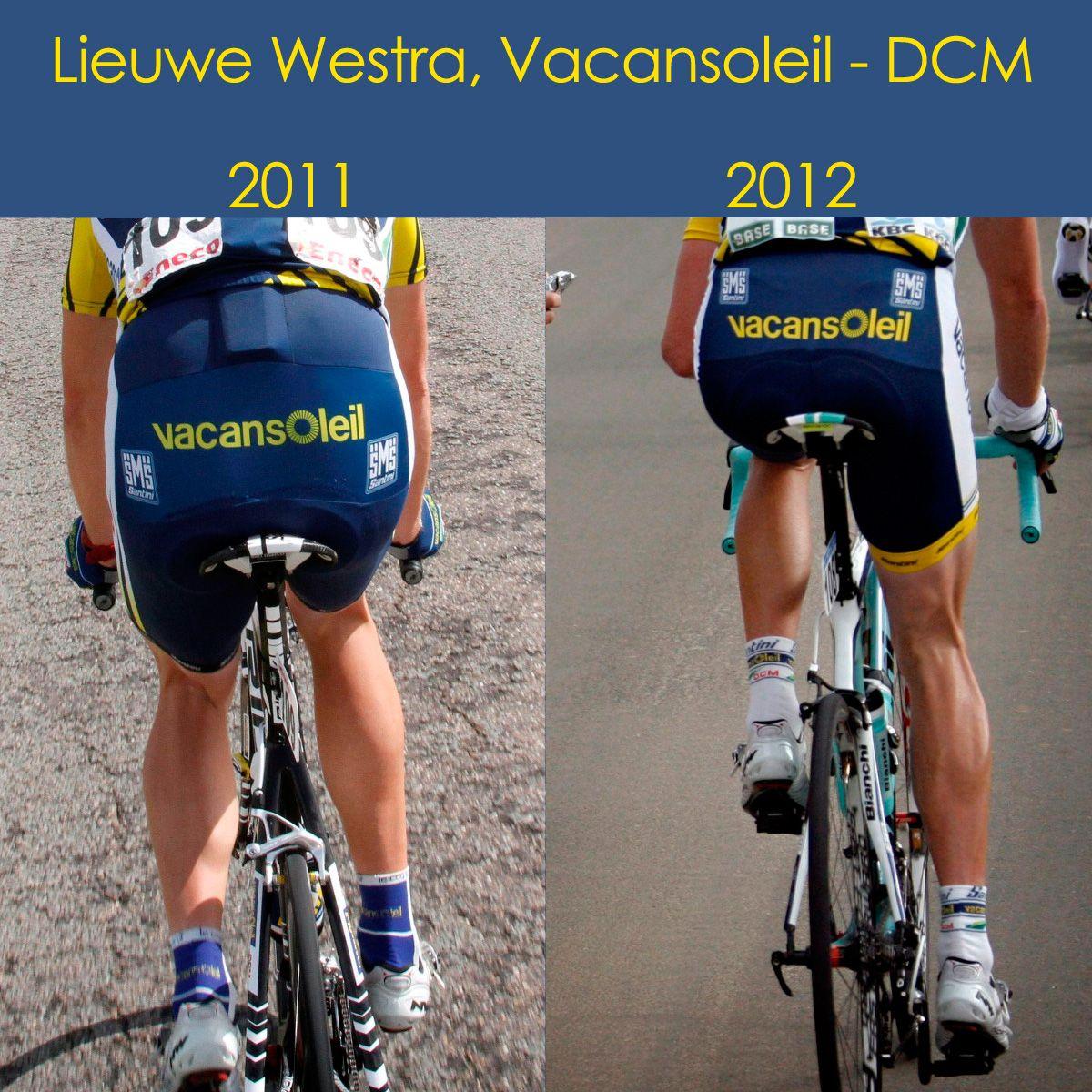 Lieuwe Westra, Vacansoleil DCM. Pro-cycling    Ook bij een profwielrenner kan voeding en persoonlijke training nog een groot verschil maken. Lieuwe Westra viel 4 kilo af en won gisteren van alle grote namen in de wielerronde Parijs-Nice. Op de foto het verschil van zijn kuiten in 2011 en 2012.