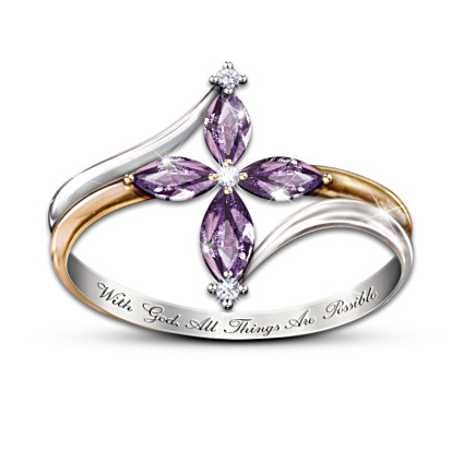 Beautiful amethyst and diamond cross ring is engraved with the phrase