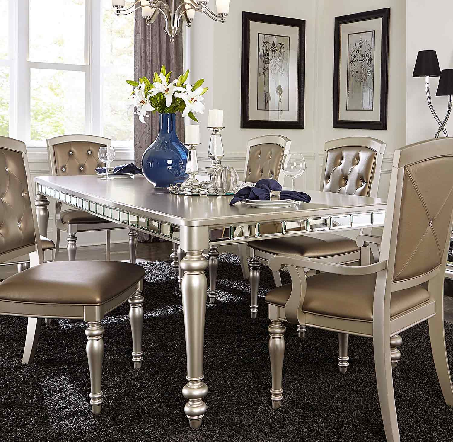 Homelegance Orsina Dining Table Silver N At Homelementcom - Silver mirrored dining table