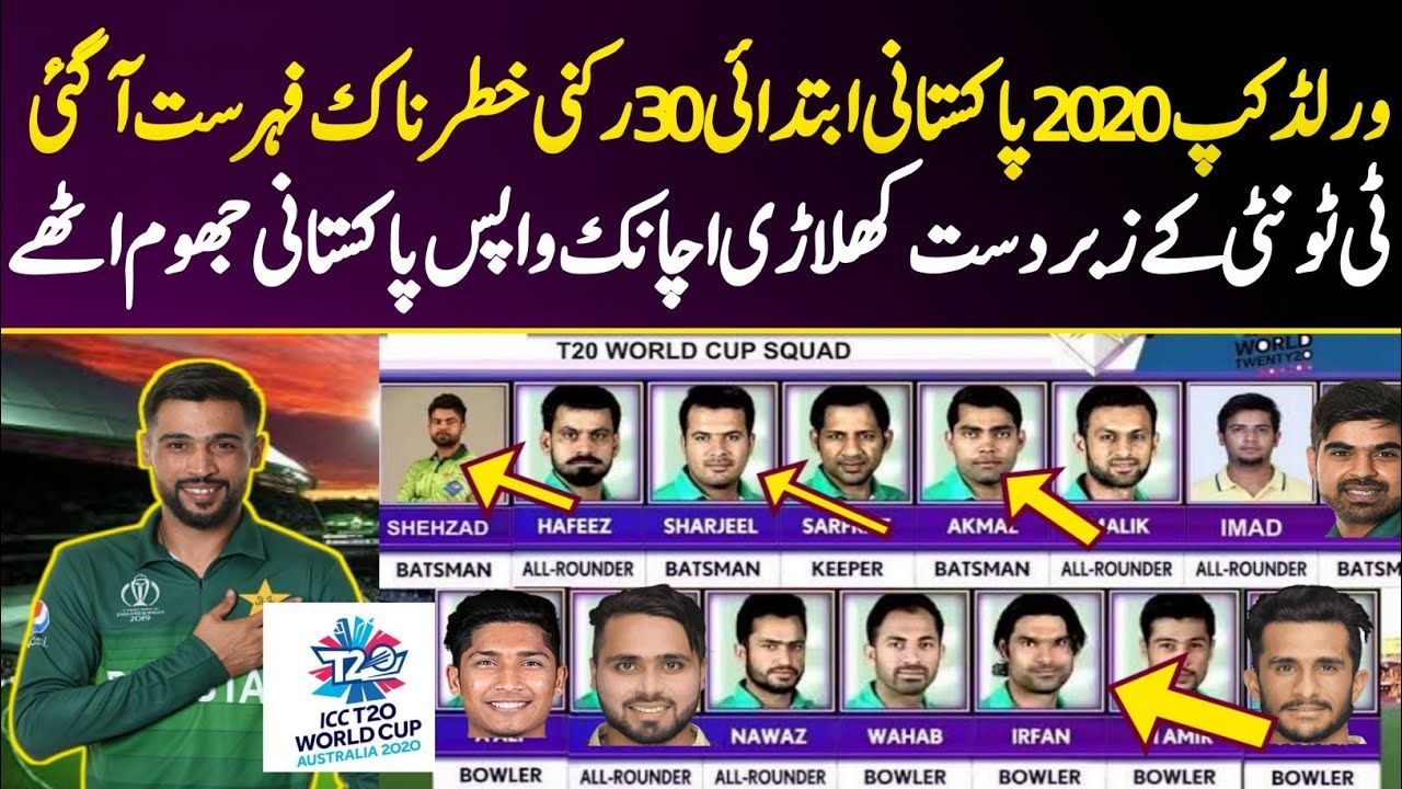 Pakistan Cricket Team 30 Members Squad T20 Worldcup 2020 Saqi Sport Pakistan Cricket Team Cricket Teams Cricket