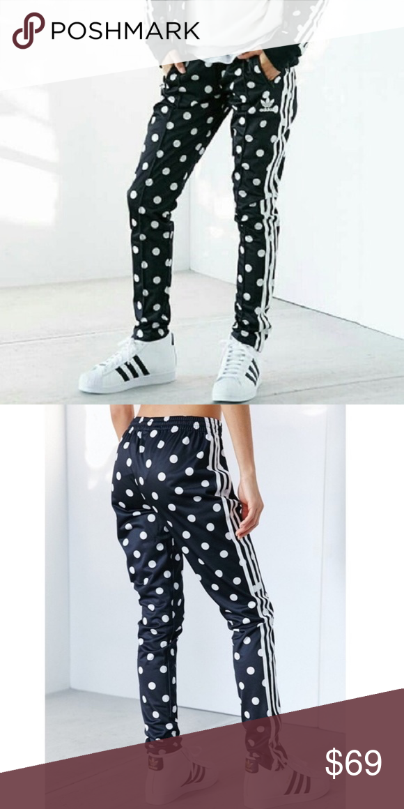 Adidas Black & White Polka Dot Track Pants Sz XS Adidas