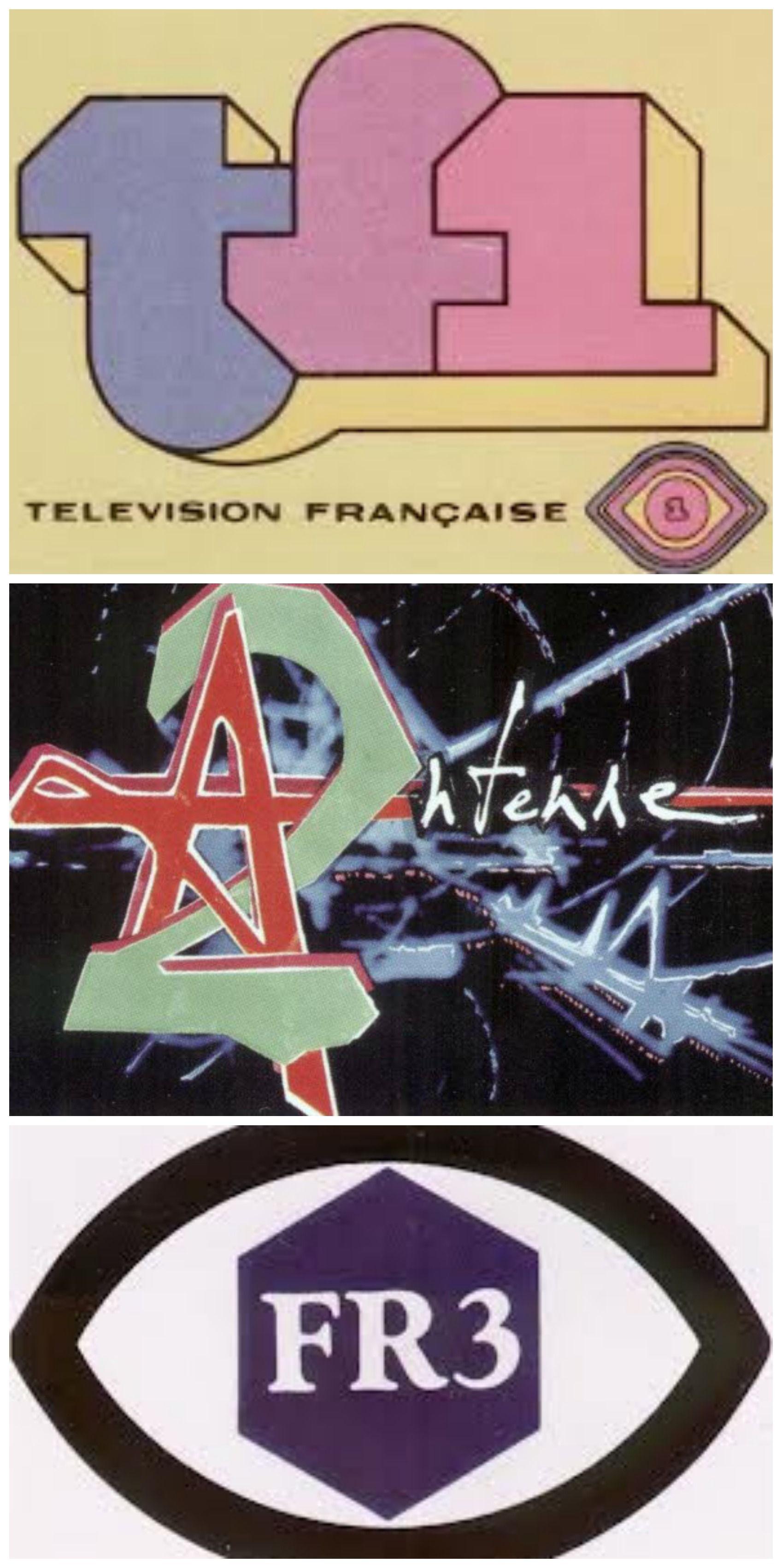 Les logos des 3 chaînes de télé françaises Années 70