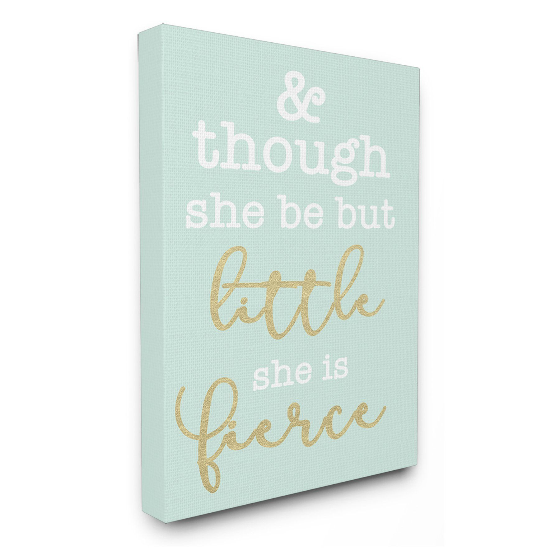 0051350db Stupell Decor Little and Fierce Teal and Gold Canvas Wall Art -  BRP-1903_CN_16X20